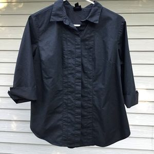 Black button up 3/4 sleeve Worthington Petite Top